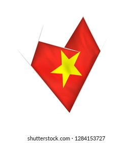 Sketched crooked heart with flag of Vietnam