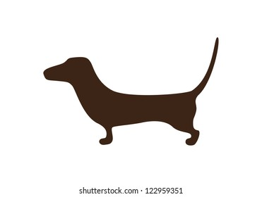 Sketched dachshund brown silhouette isolated on white background