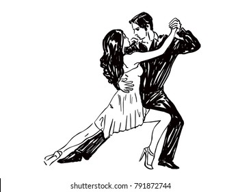 Sketched Dancers in black and white