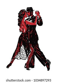 Sketched Dancers in red and black