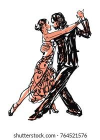 Sketched Dancers -vector illustration