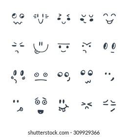 Sketched facial expressions set. Set of hand drawn funny cartoon faces. Vector illustration