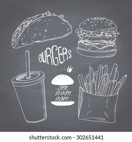 Sketched fast food set with burger, french fries, taco and paper cup of milk shake. Design for cafe, restaurants, diner menu. Chalk style vector illustration. Chalkboard background