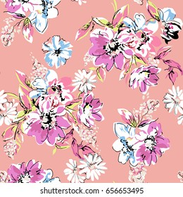 Sketched flower print in pink ~ seamless background