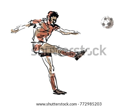 Sketched Football Player Vector Illustration Stock Vector Royalty