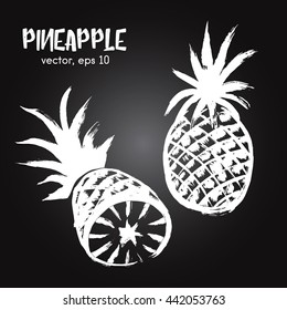 Sketched fruit illustration of pineapple white on blackboard. Hand drawn brush food ingredient. Vector bio and eco icon, logo design template. Concept for healthy food.