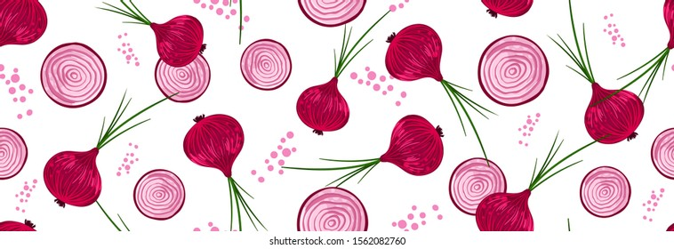 Sketched Hand drawn seamless pattern red onion with green onion, cutaway onion top view isolated on a white background, flat lay for culinary blog, video recipe screensaver, patchwork fabric.