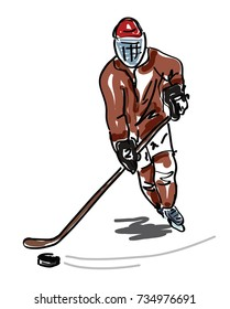 Sketched Ice hockey player - vector illustration