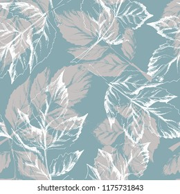 Sketched Leaves Seamless Pattern. Hand Drawn Illustration. Vector Background.