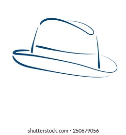 Sketched man's fedora trilby hat isolated on white background. Design template for label, banner, badge, logo. Fedora trilby hat vector illustration.