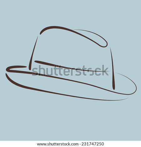 Sketched Mans Fedora Trilby Hat Harmonic Stock Vector (Royalty Free ...