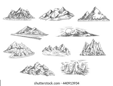 Sketched mountain landscapes for hiking tourism, adventure and nature themes design. Rocky mountain ridges and summits, sunsets over hills and tower rocks, mountain valleys with roads and rivers