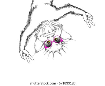 Sketched Portrait of a Funny Monkey with Liberty Spike Hairstyle and Cat-Eye Sunglasses. Sketch of an Ape`s Face. Vector Illustration for Kids. Stylized Cartoon Animal. Comic Style Freehand Drawing