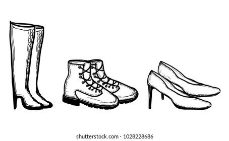 Sketched Shoes - vector illustration