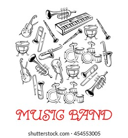 Sketched sound instruments. Synthesizer and violin with bow or fiddlestick, trap set or drum kit, saxophone and trumpet.  Woodwind, string, brass, percussion used in jazz, rock, pop, disco.