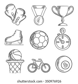 Sketched sport games icons with basketball, soccer , football, ice skating, boxing gloves, cycling and bowls with a winners medal, trophy and stopwatch. Sketch elements