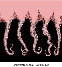 Sketched tentacles. Hand Drawn Vector Tentacles.