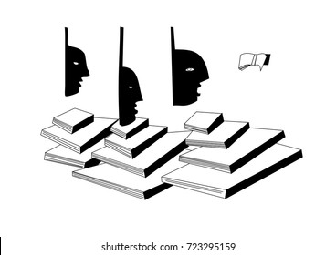 The sketched vector illustration of the three flying heads over the books