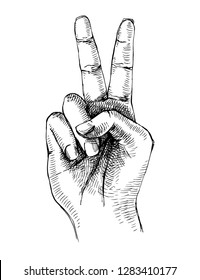 Sketched victory hand gesture. Vector illustration