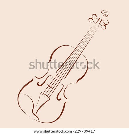 Violin Template | Sketched Violin Harmonic Colors Design Template Stock Vector