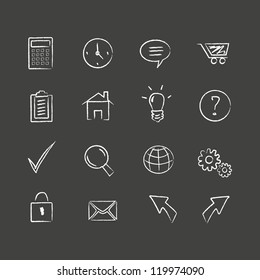 Sketched web icons Hand drawn web icons. Layered file. High res jpeg included.