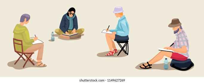 Sketcher artists drawing, sitting on folding chairs and ground. Vector set of cartoon illustrations isolated.
