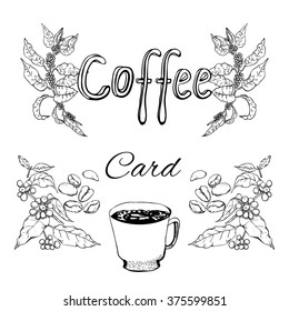 Sketches about coffee: the plant, cup of coffee. For coffee card.