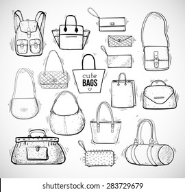 Sketches of bags. Vector fashion illustration.