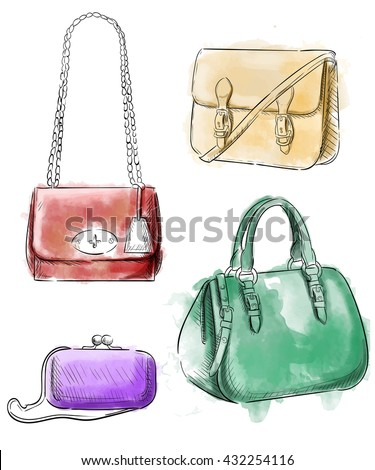 d80cd81a7a6 Sketches of bags. Vector fashion illustration. Women s Hand Drawn Purses  set of accessories handbags
