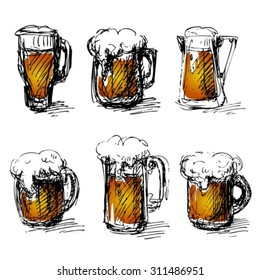 Sketches of beer mugs isolated on a white background.