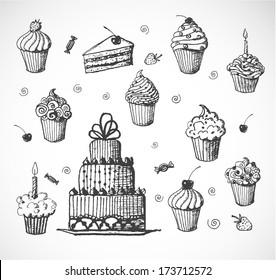 Sketches of cakes and cupcakes isolated on white. Vector illustration.
