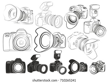 Sketches of cameras.