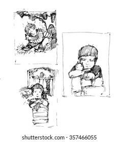 sketches of cat and baby