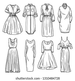 Sketches collection of women's dresses. Hand drawn vector illustration. Black outline drawing isolated on white background