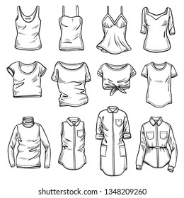 Sketches collection of women's tops: t-shirts, blouses, singlets and shirts. Hand drawn vector illustration. Spring summer season. Black outline drawing isolated on white background