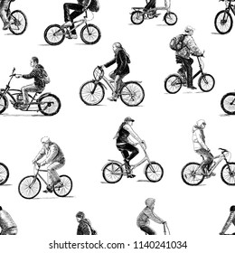 Sketches of the different city dwellers biking