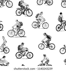 Sketches of the different townsmen ride on the bicycles