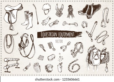 sketches of equestrian equipment, isolated vector. vintage. icons for packaging design and sketch books, hand-drawn cowboy saddle, bridle, equestrian form , reward