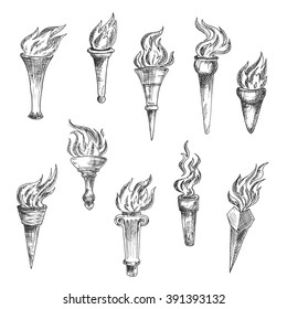 Sketches of flaming torches with conical handles and broad cups. Engraving stylized antique torches for sport, heraldic or history theme