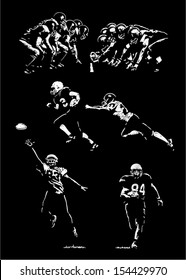 Sketches of football players. Hand drawings - lights and shadows style.