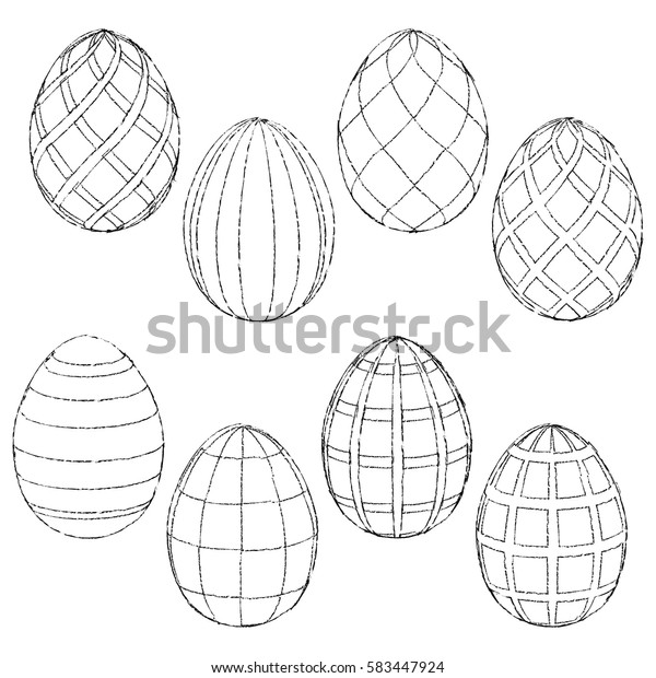 Sketches Handmade Easter Eggs Coloring Vector Stock ...