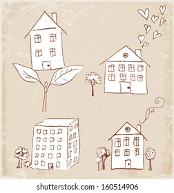 Sketches of houses in vintage style. Vector illustration.