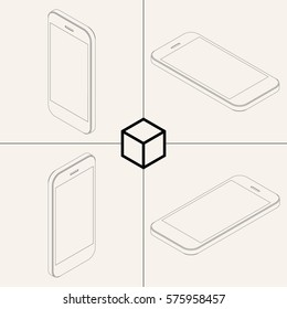 Sketches of Isometric Smartphone / Vector