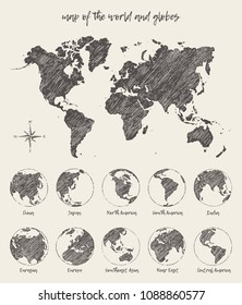 Sketches of map of the world and the globe. Vector Illustration