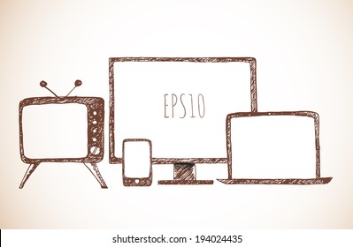 Sketches of mobile phone, old TV set, computer monitor, and notebook. Hand-drawn with ink in vintage style. Vector illustration.