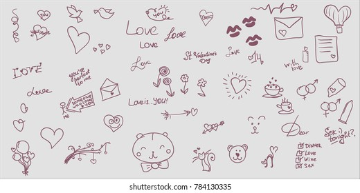 Sketches and notes on love or Saint Valentine's Day theme