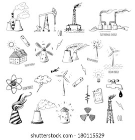 Sketches of oil rigs, oil platforms, thermal energy station and other sources of energy. Vector sketch illustration.