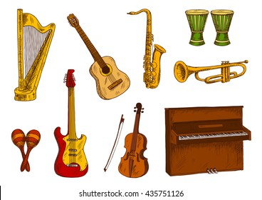Sketches of saxophone, trumpet, acoustic and electric guitars, violin, piano and harp, african drums and mexican maracas. Ethnic and classic musical instruments for music and entertainment