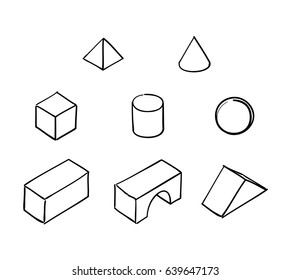 Sketches of a selection of building blocks: pyramid, cone, cube, cylinder,sphere,cuboid, arch, prism.