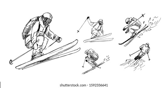 Sketches of  skiers. Outline with transparent background. Hand drawn illustration converted to vector